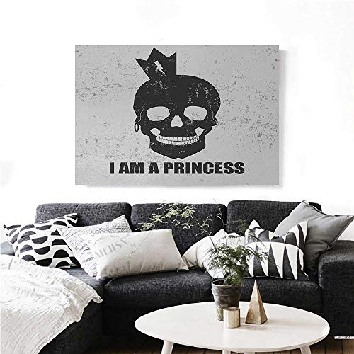 homehot I am a Princess Canvas Wall Art for Bedroom Home Decorations Skull with a Crown Skeleton Halloween Theme Grunge Look Art Stickers 28