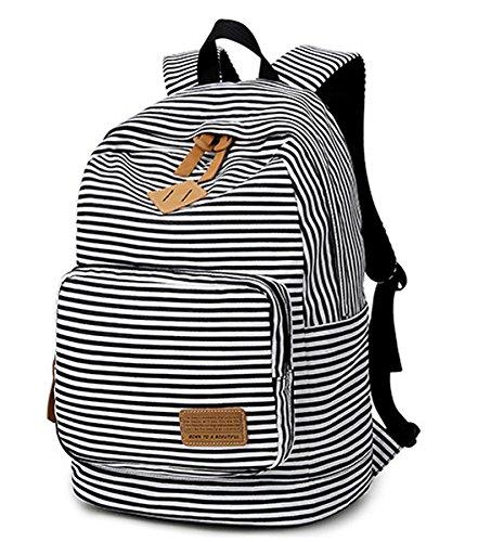 Minetom Tela Tejida Lona Backpack Mochilas Escolares Mochila Escolar Casual Bolsa Viaje Moda Mujer Colorido Rayas Negro