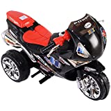 Kids Ride On 3 Wheels Motorcycle 6V Battery Powered Electric Bicyle Toy Black and Red