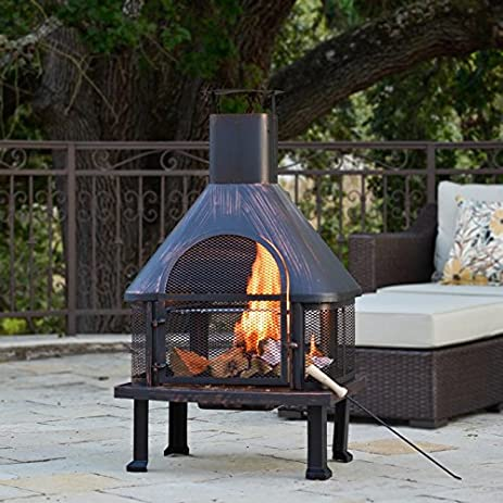 Fuoco Steel Wood Burning Outdoor Fireplace