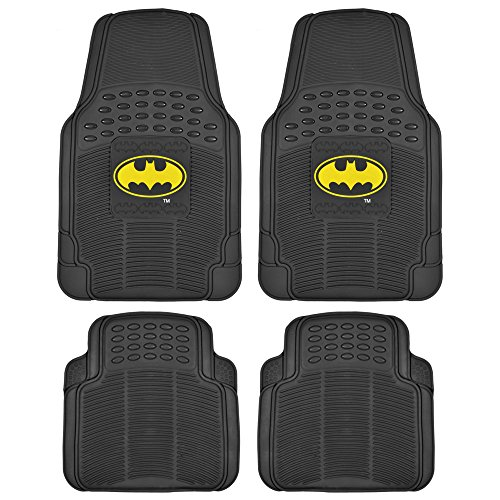 Batman Rubber Car Floor Mats 4 PC Front Heavy Duty All Weather Protection - Trimmable To fit at Gotham City Store