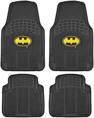 Batman Rubber Car Floor Mats 4 PC Front Heavy Duty All Weather Protection – Trimmable to fit (WBMT-1372+MT-802-BK_AMZCJ2)