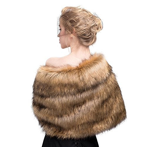 MISSYDRESS Women's Wedding Bridal Faux Fur Shawl/Stole/Wrap for Dress/Party Brown S