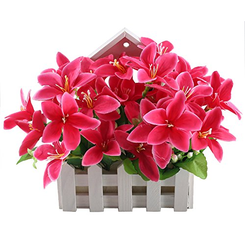 GTIDEA Artificial Lily Flower in White Wooden Basket Fake Potted Plant House Plants for Bathroom Home Kitchen Office Garden Decor (Garden Fern Wood)