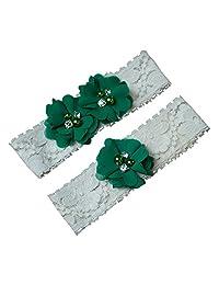 Green Chiffon Flower Wedding Garter Set