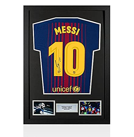 4c2e2062fa3 Framed Lionel Messi Signed Barcelona Shirt 2017 2018 - Number 10  Amazon.co. uk  Kitchen   Home