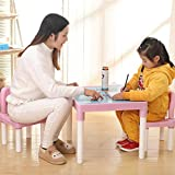 DEESEE(TM) NewPLASTIC Kids Table And 2 Chairs Set, SET FOR BOYS OR GIRLS Toddler (Pink)