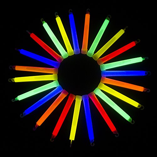 Hanging Glow Sticks (Fun Central I33, 25 Pcs 6 Inches Assorted Premium Glow Sticks, Glow Wand, Cool Glow Sticks, Fun Light up Glow Sticks, Glow Sticks Party Pack for Kids Party, Concerts, Rave)