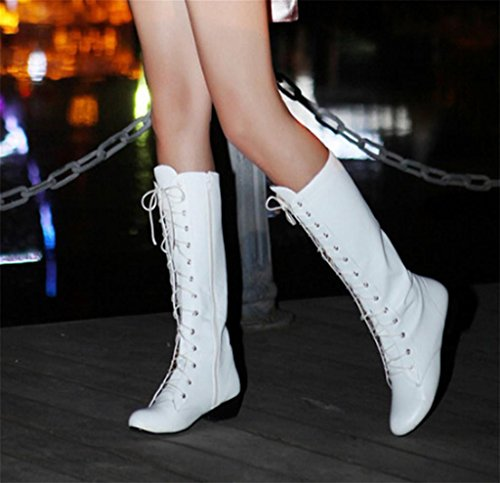 Kitzen Womens Straps Block Heel Stretch Long Over The Knee Riding Wide Fit High Boots White IhtHB5d