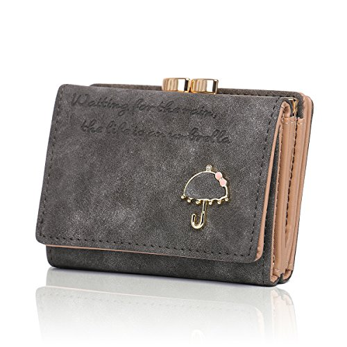 Kiss Lock Wallet (APHISON Women's Nubuck Leather Wallet Card Holder Cute Small Coin Purse for Lady Kiss Lock Closure/Gift for Girls(Gift Box) (GREY))