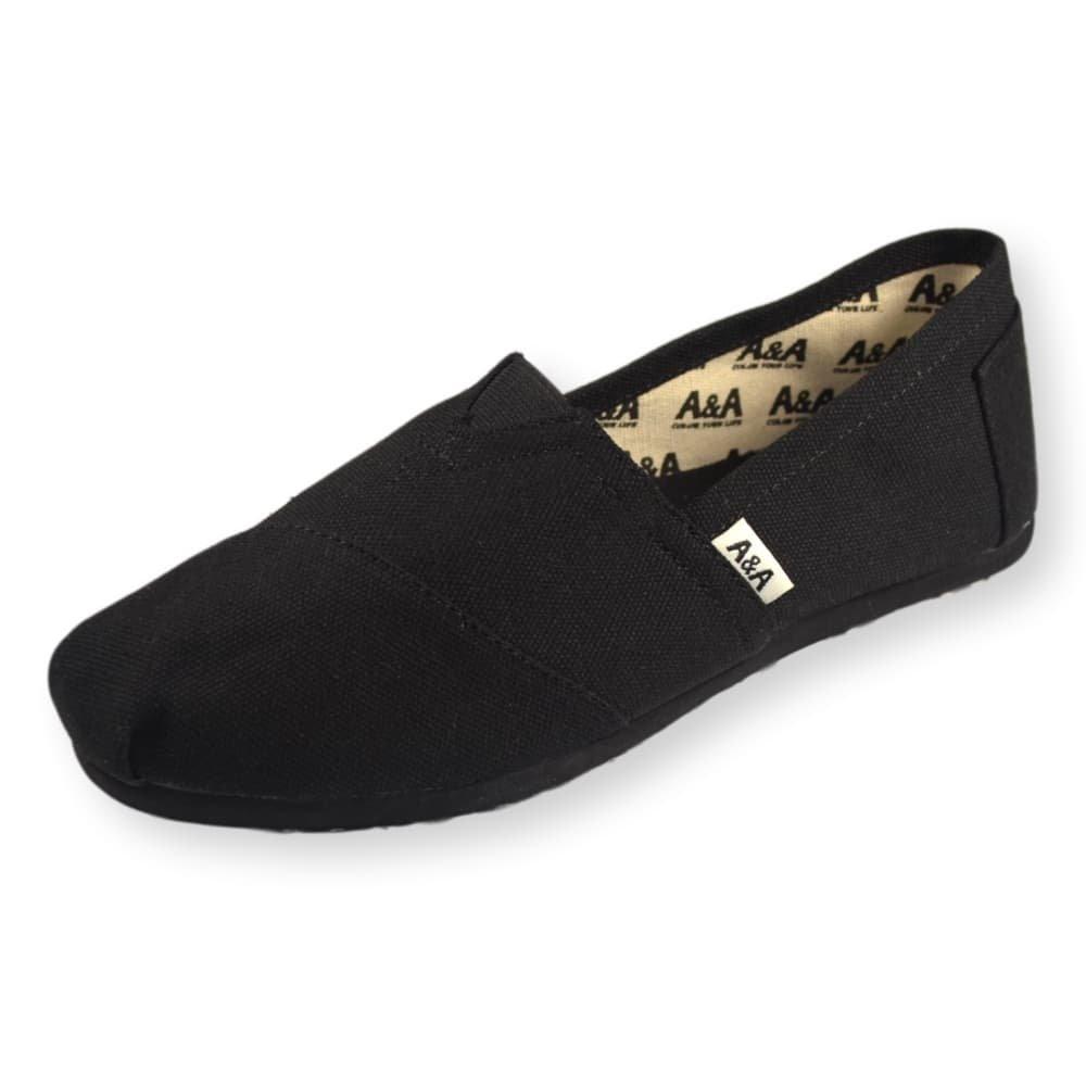 A&A Vegan Classic Slip-on Canvas Alpargatas, Casual Shoes for Women & Men (Unisex) (6 US Women / 4.5 US Men, Black on Black) by A&A (Image #1)