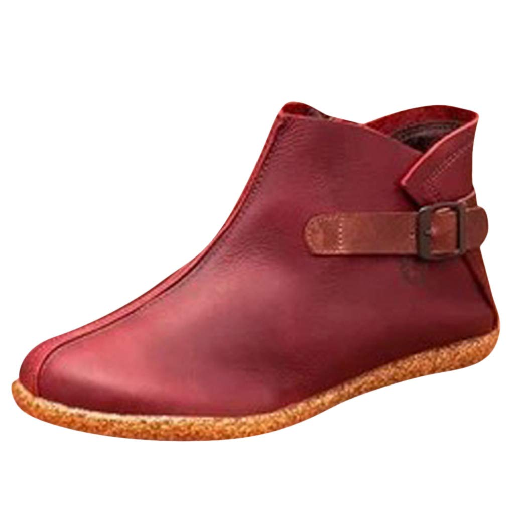 Ankle Boots for Women,Leaf2you Lady Leather Comfortable Damping Shoes Fashion Side Zipper Arch Support Booties by Leaf2you