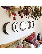 mjuio Nordic Style Acrylic Mirror Wall Stiker,5pcs Moon Phase Mirror Set,Wooden Home Decorative Bedroom,Moon Cycle Hanging Wall Decor, Wall-Mounted Mirrors
