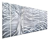 Pure Art Willow Tree of Life Metal Wall Art, Abstract Silver Sculpture Decor 3D Wall Art for Modern and Contemporary Decor, 6-Panels 24''x 65'' for Indoor and Outdoor Spaces, Handmade Original Design