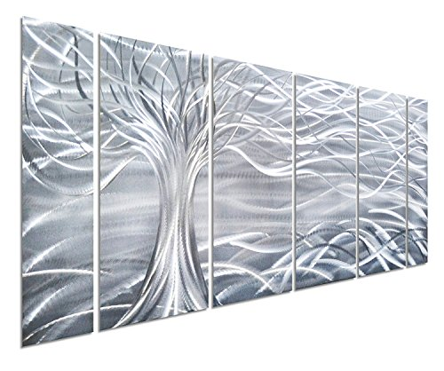Pure Art Willow Tree of Life Metal Wall Art, Abstract Silver Sculpture Decor 3D Wall Art for Modern and Contemporary Decor, 6-Panels 24''x 65'' for Indoor and Outdoor Spaces, Handmade Original Design by Pure Art