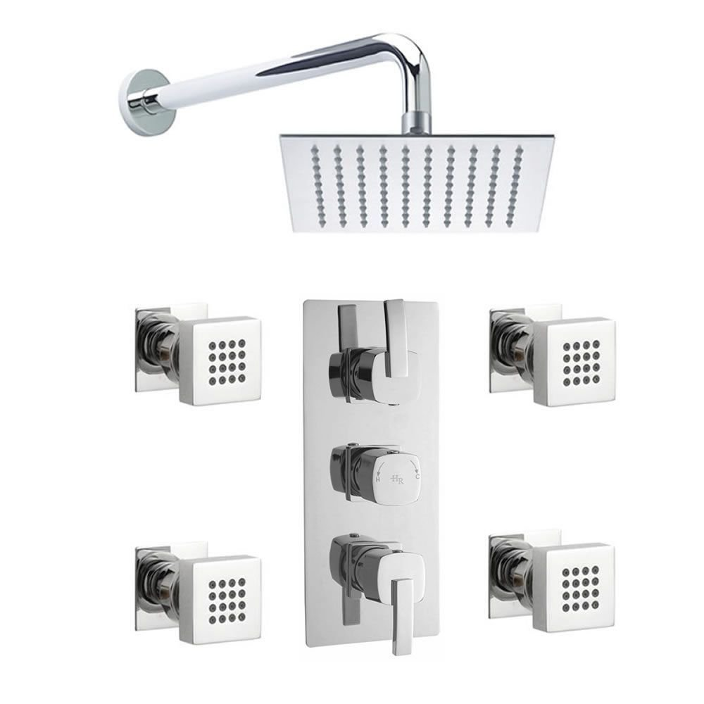 Arco Triple Concealed Thermostatic Shower Valve Faucet Sheer Fixed Square Head And Body Jets Sprays