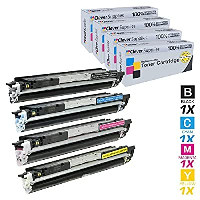 Clever Supplies© Compatible Toner Cartridges 4 Color Set for HP CP1020 (CE310A, CE311A, CE312A, CE313A), HP 126A, COLOR LASERJET CP1020, CP1025NW, PRO 100, PRO M175NW, PRO 100 COLOR MFP M175NW