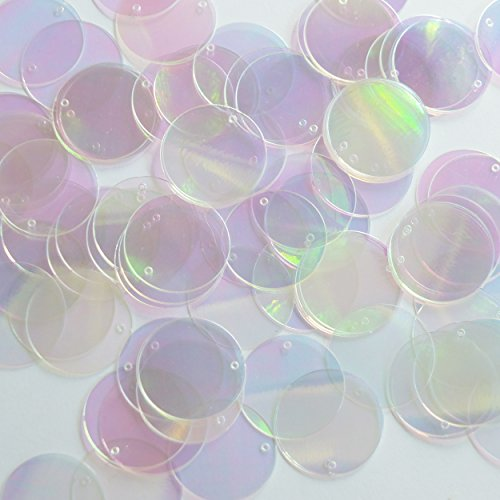 Round Sequin 20mm Crystal Crystallina Iris Mirror Iridescent Loose Couture Paillettes
