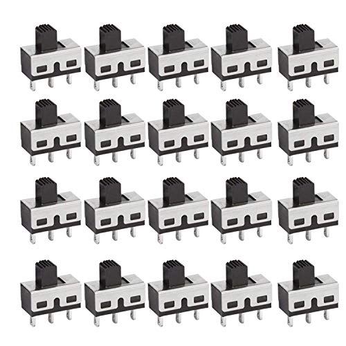 DIYhz 20Pcs SS-12D10 3 Pin 2 Position SPDT Vertical Micro Miniature Slide Switch Latching Toggle Switch AC 3A 250V