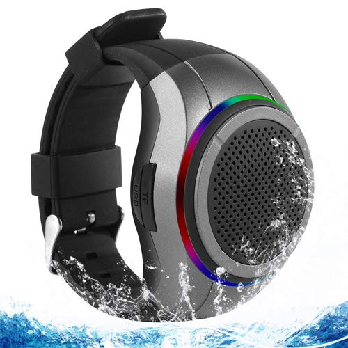 - Frewico X10 Waterproof Bluetooth Speaker Watch with LED Flashing Light + MP3 Player + Microphone + TF Card Slot, Wearable Music Watch Band for Running, Climbing, Cycling (Gray)