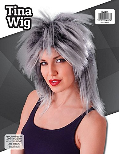 Bristol Novelty BW185 Tina Two Tone Wig, Grey/Black, One Size]()