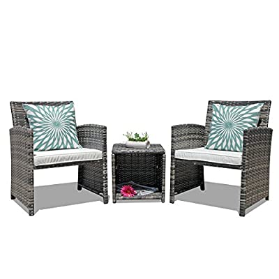 Orange Casual Outdoor 3-Pieces Patio Wicker Rattan Bistro Style Patio Furniture Sets Coffee Table with Storage Function, Cushioned Seat Garden Table and Chair