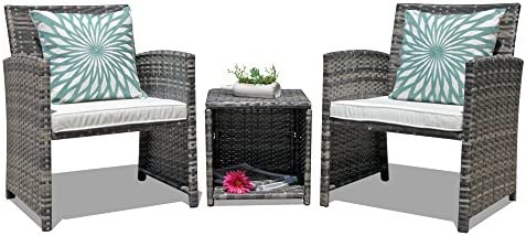 OC Orange-Casual 3-Piece Outdoor Wicker Bistro Patio Furniture Set Cushioned Chair Conversation Set Storage Side Table Space Saving Design Garden Lawn