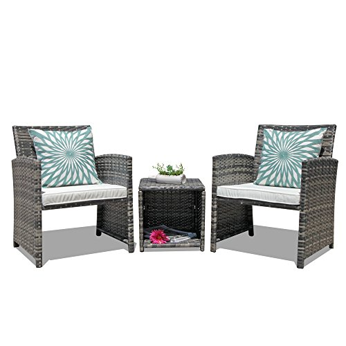 OC Orange-Casual 3-Piece Outdoor Wicker Bistro Patio Furniture Set Cushioned Chair Conversation Set Storage Side Table Space Saving Design Garden Lawn