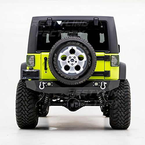 Heavy Duty Rear 2' Receiver - Restyling Factory - Heavy Duty Rock Crawler Rear Bumper With 2x LED Light, 2'' Hitch Receiver-Textured Black for 07-17 Jeep Wrangler JK