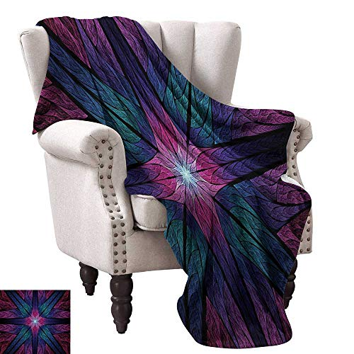 WinfreyDecor Fractal Blanket Sheets Psychedelic Colorful Sacred Symmetrical Stained Glass Figure Vibrant Artsy Design Traveling,Hiking,Camping,Full Queen,TV,Cabin 70