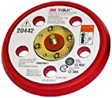 3M(TM) Stikit(TM) D/F Low Profile Disc Pad 20442, Pressure-Sensitive Adhesive (PSA) Attachment, 5'' Diameter x 3/8'' Thick, 5/16''-24 External Thread, 5 Holes, Red  (Pack of 1)