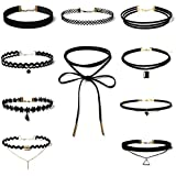 10Pcs Women Classic Black Velvet Lace Stretch Gothic Tattoo Choker Necklace Set Walking Street