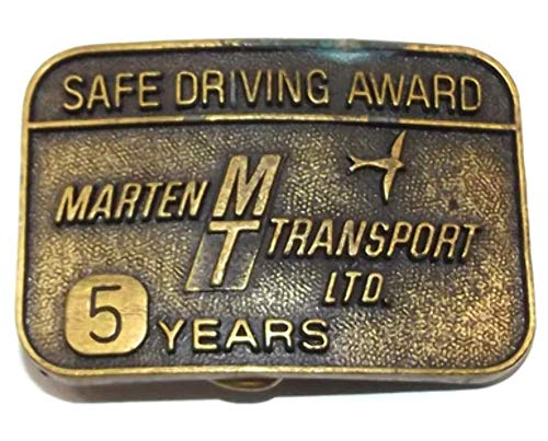 Vintage Brass Tone Marten Transport Ltd. 5 Year Safe Driving Award Belt Buckle