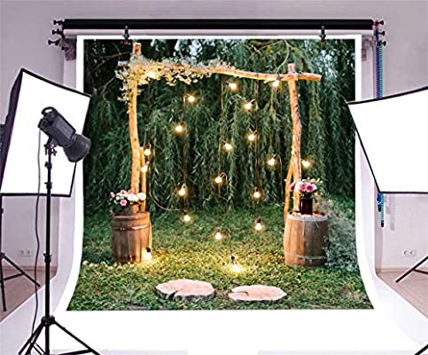 Cassisy 3x3m Vinilo Boda Telon de Fondo Al Aire Libre Ceremonia de la Boda Arco de la Boda Fiesta de los bosques Fondos para Fotografia Los Amantes Photo Studio Props Photo Booth: