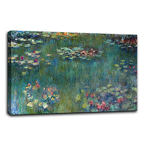 (AMEMNY Canvas Wall Art Water Lilies by Claude Monet Canvas Paintings-24 x36 Piece Extra Large Contemporary Pictures Modern Canvas Prints Giclee Fine Art Print)