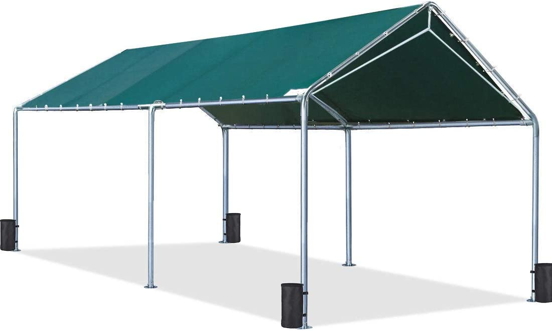 Quictent 10X20 Upgraded Heavy Duty Carport Car Canopy Party Tent with 3 Reinforced Steel Cables 10x20 Upgraded
