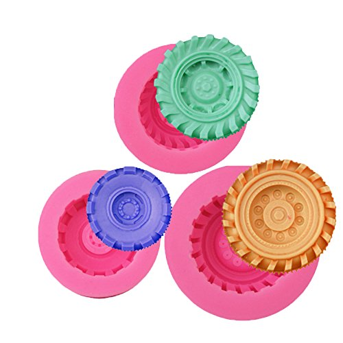 (set of 3)Round Tire Silicone Jello Candy 3D Cake Molds for Sugarcraft, Chocolate, Fondant, Resin, Polymer Clay, Cupcake Topper Decorating,Soap Making