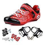 KUKOME Men's Women Road Cycling shoes & Pedals(BR + Black,US12, EU45/Ft28.5cm)