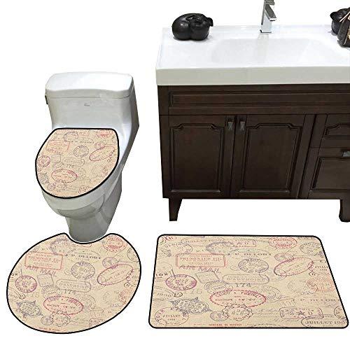Vintage Bath mat and Toilet mat Set