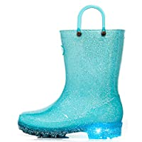 Outee Toddler Kids Light Up Rain Boots Waterproof Lightweight Glitter Boots Collection with Handle