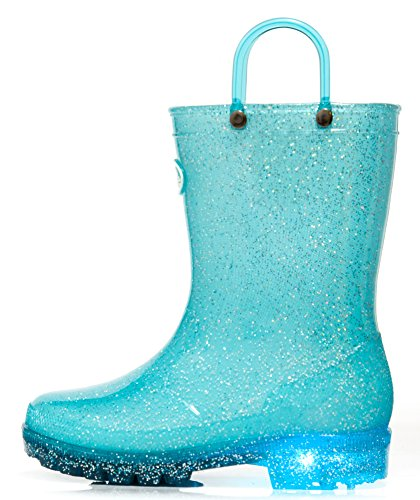 Outee Toddler Girls Boys Kids Light Up Rain Boots Waterproof Shoes Glitter Light Weight Cute Lovely Funny with Easy-on Handles Classic Comfortable (Size 5,Light Up Blue) ()
