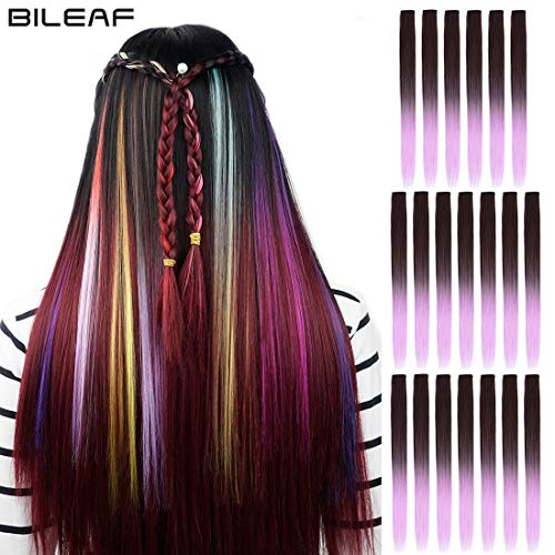 20pcs Colored Party Invisible in Hair Extensions Clip in Synthetic Hair with Multiple Colors(Dark Brown Light Violet)