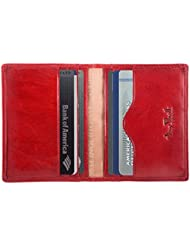 Luggage Depot USA, LLC Tony Perotti Italian Leather Thin Bifold Credit Card Holder Wallet, Red