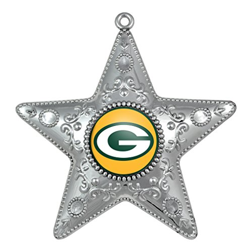 NFL Green Bay Packers Silver Star Ornament, Small, - Ornaments Nfl