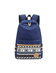Qiaoshubao Women's Canvas Ethnic Embroidery Pattern Travel Daypack Campus Backpack with Interior Pockets (dark blue)