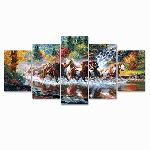Niterny Art Running Horse Animal Painting on Canvas Art Print Picture Classical Natural Landscape Artwork for Bedroom Home Wall Decor