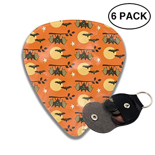 Guitar Picks Halloween Bats Celluloid Plectrum Thin Medium Heavy Bass 3D Printed Variety Pick Mini Music Gift Grip -6pcs ()