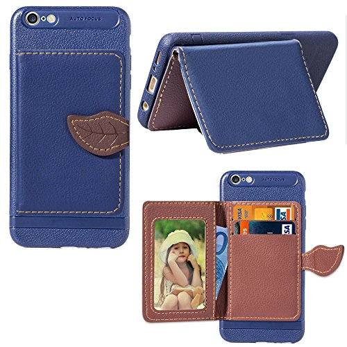 Scheam Oppo A57 Case, Oppo A57 Wallet Case,Hear, Premium Slim Leather Wallet Back Case with Credit Card ID Holder Protective Case Compatible with Oppo A57,Dark Blue ()