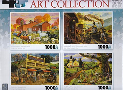 4 1000 Piece Piece Piece Puzzles: Barnyard Gathering, Early Morning Departure, Country Store, Church Picnic by George a551c9