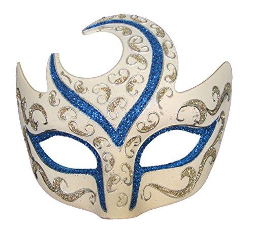 Venetian Eye Mask Swirl Top White with Blue & Silver Trim Mardi Gras Costume